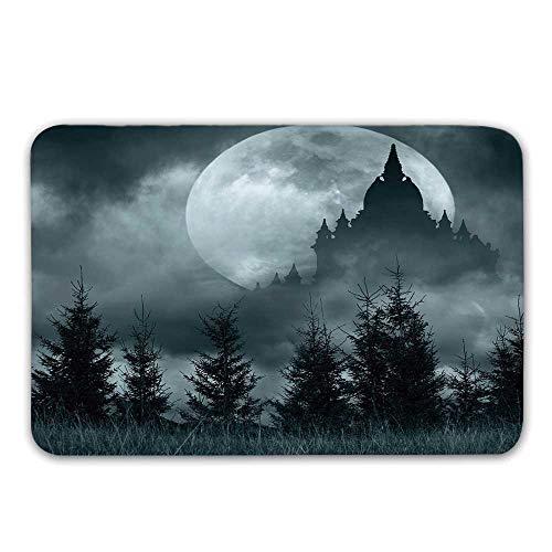 Halloween Non Slip Rubber Entrance Rug,Magic Castle Silhouette