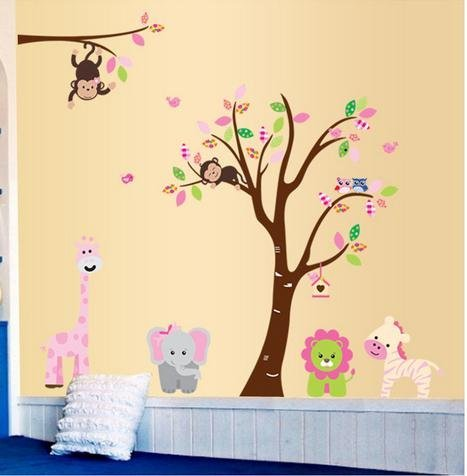 O'plaza ® Jungle animals around a large colorful tree wall sticker nursery bedroom wall art decor Elephant/Monkeys/Giraffe/Loin/Owls/zebra Kids room removable decal baby bedroom Wall Sticker/decals/decor Wallpaper wall art