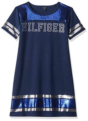 Tommy Hilfiger Big Girls' Tee Shirt Dress, Sequin Flag Blue, Medium 8/10