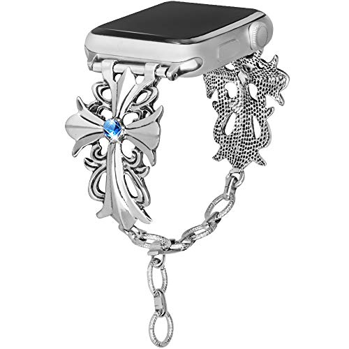 somoder Bling Bands Compatible Apple Watch Band 38mm 40mm, Vintage Chain Jewelry Bracelet with Rhinestone Replacement Apple Watch Series 4 Series 3 Series 2 Series 1, Sport ()