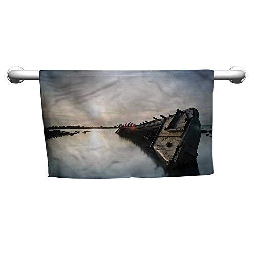 - flybeek Style Towel Shipwreck,Sinking Boat Sunset,Towel Rings for Bathroom