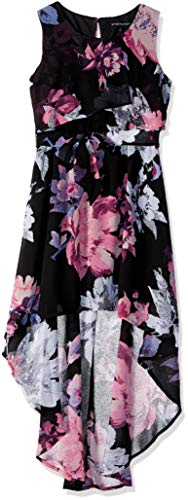 My Michelle Girls' Big High Low Dress, Black/Pink 12