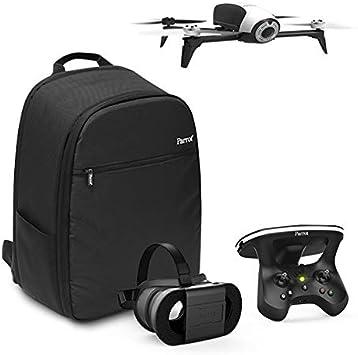 Parrot BEBOP 2 Adventurer - Dron cuadricóptero (Full HD 1080P, 14Mpx, 60Km/h, 25 minutos de vuelo, 2Km de alcance, 8GB) + Skycontroller 2 + Cockpitglasses + Mochila + Código Follow Me, color blanco: Amazon.es: Electrónica