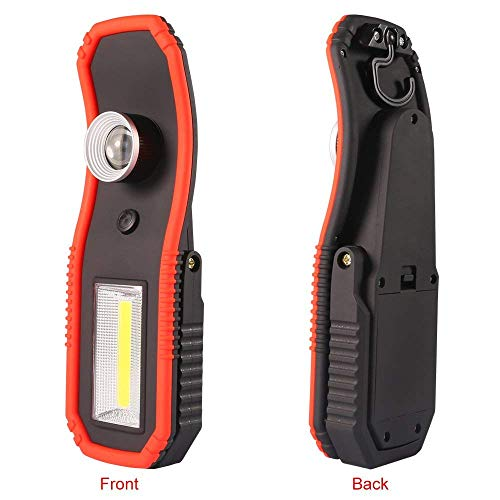 Pocket COB Light, Cordless LED Work Light, Brilliantly Bright 220 Lumen Dual Lights Source Rotary Zoom Adjustment Emergency Light