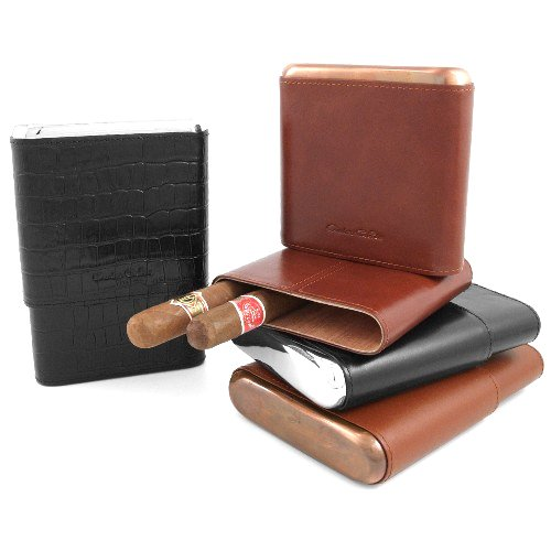 Andre Garcia Metropolitan Collection Classic Cocoa Brown Italian Leather Cedar-Lined Telescopic 5 Finger Cigar Case with Copper Metal Accent