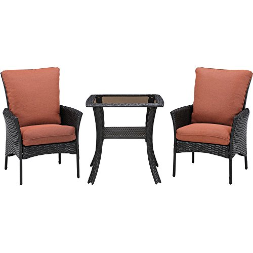 Hanover Strathmere Allure Bistro Set (3-Piece) Dark Brown / Orange STRALBS3PCSQ-RST