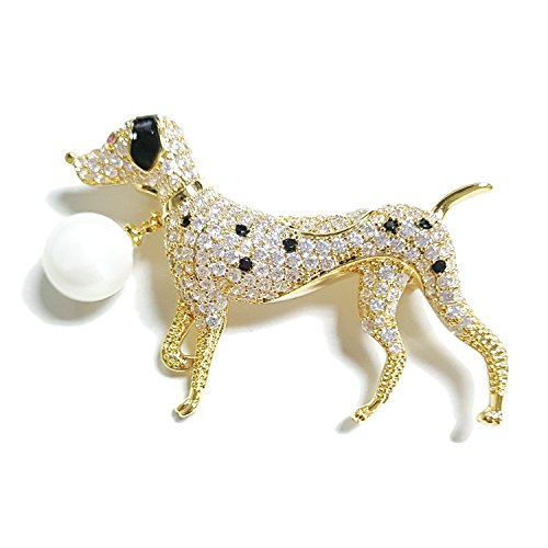 NONOSIZE Fine Fashion Animal Brooch Jewelry Bling Rhinestone Spotted Dog Shape Brooch