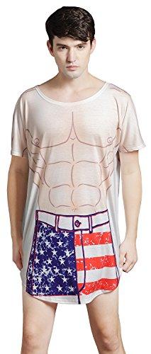 Bellady Womens Men Fun Wear Bikini Sleepwear Mans Muscle Print Cover up T-Shirt