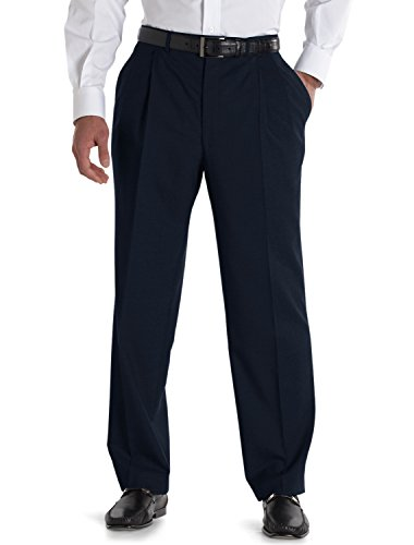 Jack Victor Plated Nanotex Pant, Navy 50L (Mens Double Pleated Pants)