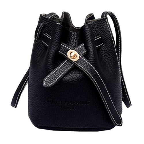 EUzeo Women Satchel Tote Crossbody Bag Shoulder Bag Messenger Phone Bag Bucket Bag Black
