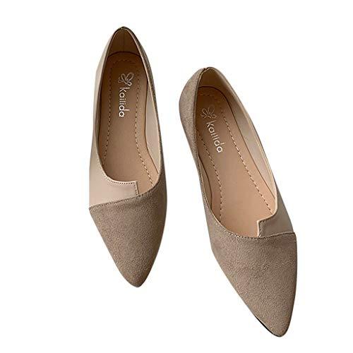 Cewtolkar Women Sandals PU Leather Shoes Roman Sandals Pointed Shoes Flat Sandals Work Shoes Soft Sandals Khaki by Cewtolkar (Image #5)