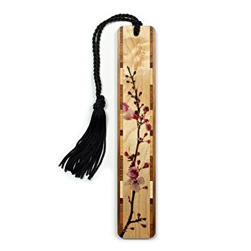 Mitercraft Cherry Blossom Branch in Color Wooden Hand Made Bookmark on...