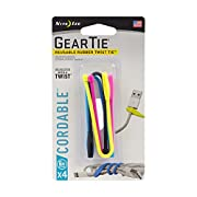 Nite Ize Gear Tie Cordable, The Orginal Reusable Rubber Twist Tie with Stretch-Loop For Cord Management + Storage, 6-Inch, Assorted Colors, 4 Pack, Made in the USA
