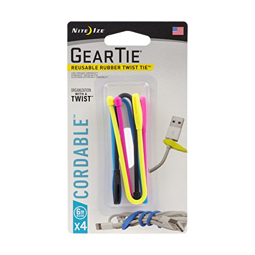 Nite Ize Gear Tie Cordable The Orginal Reusable Rubber Twist Tie With Stretch Loop For Cord Management Storage 6 Inch Assorted Colors 4 Pack Made In The Usa