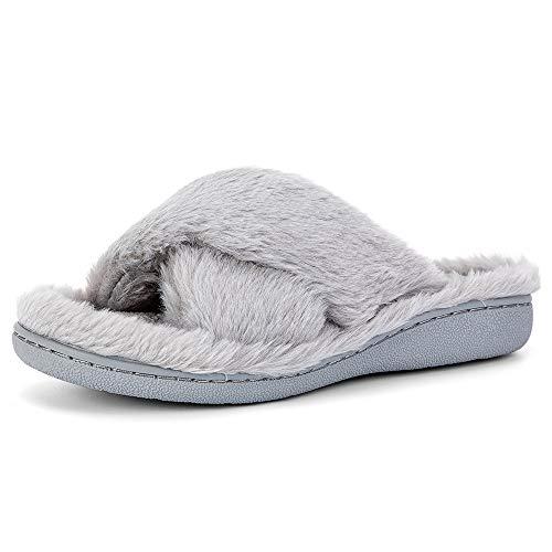 Moda Chics Womens Cozy Comfort Memory Foam Slide House Sippers Faux Fur Plush Soft Non Slip Mule Flip Flops Gray L (US: 9-10.5)