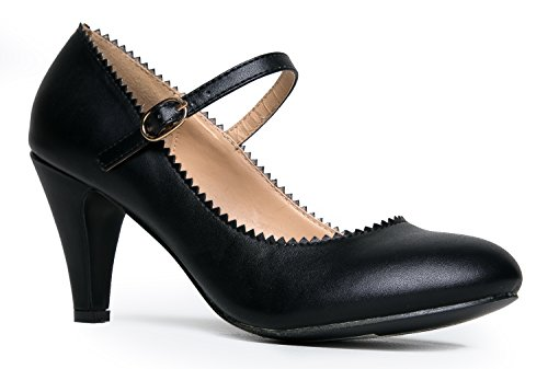 Black Retro Pumps (Mary Jane Kitten Heels, Vintage Retro Scallop Round Toe Shoe With An Adjustable Strap, 9 B(M) US, Black PU)