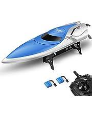 E T RC Boot Ferngesteuertes Boot 2,4GHz 20MPH High Speed Boot mit Kapsel Standard Funktion Fernbedienung Spielzeug für Kinder mit Extra Batterie (Blau Weiss)