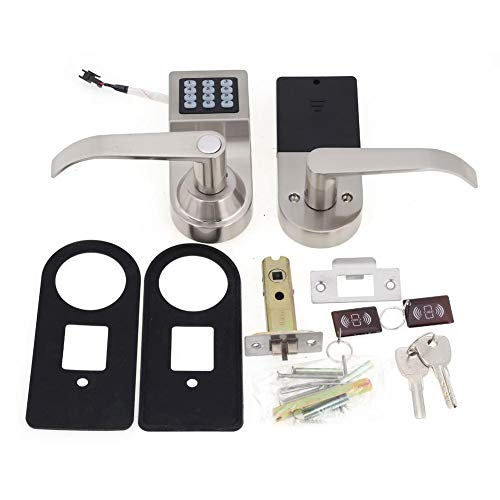 Electronic Security Control - Digital Door Lock,Unlock with Remote Control, M1 Card, Code and Key,Handle Direction Reversible Electronic Home Security Entry