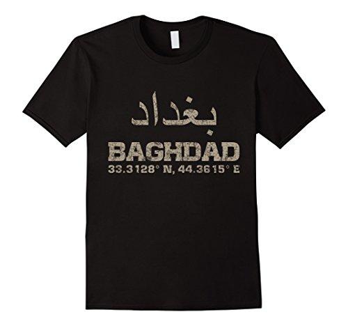 Mens Baghdad iraq, coordinates T-Shirt arabic Medium Black