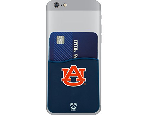 Auburn Tigers Adhesive Silicone Cell Phone Wallet/Card Holder for iPhone, Android, Samsung Galaxy, Most Smartphones