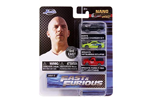 Jada Toys Nano Hollywood Rides Fast & Furious Dom's Dodge Charger R/T, Brian's Mitsubishi Eclipse, Brian's Ford F-150 SVT Lightning, 1.75