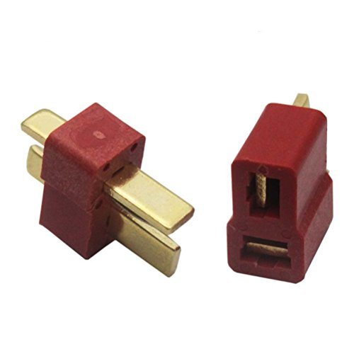 Foxnovo 10 Pairs of Gold-plated T Plug Connectors Male Female Deans Style for RC Lipo Battery Helicopter Car (Red)