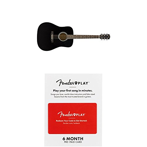 Squier SA-150 Squier Beginner Dreadnought Acoustic Guitar - Gloss Black Finish with 6 months of Fender Play