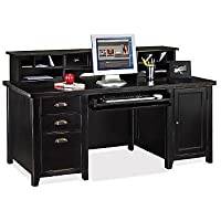 Tribeca Loft Black Computer Desk with Hutch