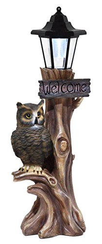 Ebros Haunted Forest Outpost Guardian Owl Welcome Sign Statue with Solar Powered Lantern LED Light Patio Decor Figurine 20