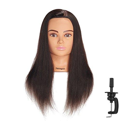 Hairingrid Mannequin Head 20-22100% Human Hair Hairdresser Cosmetology Mannequin Manikin Training Head Hair and Free Clamp Holder (1906LB0214)