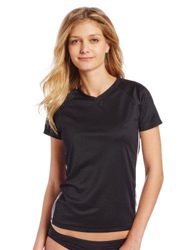 (Kanu Surf Women's Short-Sleeve Rashguard, Black/Grey, Medium )