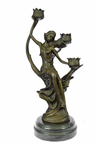 - Handmade European Bronze Sculpture Art Nouveau Gorgeous Lady Candelabra Classic Artwork Bronze Statue -JPYRD-1311-Decor Collectible Gift