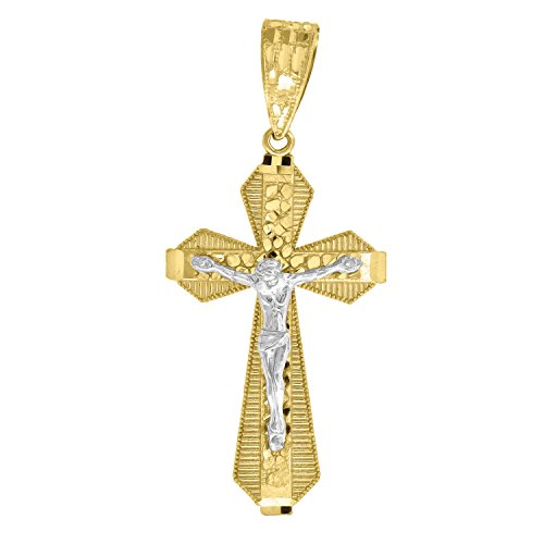 14kt Yellow and White Gold Mens Two-tone Diamond-Cut Nugget Cross Crucifix Jesus (Height with bail: 54.8mm) Pendant Charm (24.9mm x 54.86mm)