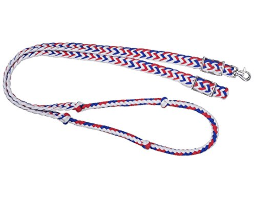 Tough 1 Knotted Cord Roping Rein Red/White/Blue