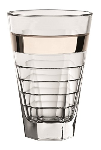 Majestic Gifts European Glass Highball with Platinum Band (Set of 6), Clear
