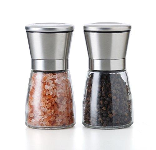 TGY Salt and Pepper Grinder Set of 2 Adjustable Coarseness Salt & Pepper Shakers Glass Mill Brushed