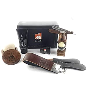 GBS Men's Wood Grooming Set – Professional Barber Shave Ready Straight Razor Set with Soap, Synthetic Brush, Stand, Sandalwood Aftershave, and Strop – Gift Box Premium Wet Shaving and Beard Shaping