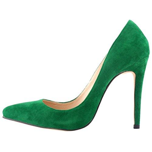 Azbro Zapatos Tacón Alto Estiletes Pu Sólido Punta-Estrecha Verde