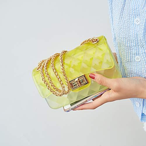 trasparente gelatina Mini Borsa donna Colore rombo tracolla da Donna Borsa trasparente a Saoga della chiaro sacchetto Giallo Solo 0px0ItnqHw