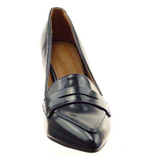 Sopily - Zapatillas de Moda Tacón escarpín stiletto Tobillo mujer acabado costura pespunte Talón Tacón de aguja alto 8.5 CM - Azul