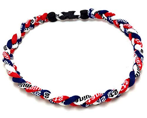 OOIN Package of 12 Baseball Titanium Necklaces for Boys Tornado Braided Rope Necklace (Red/Navy/White, 16
