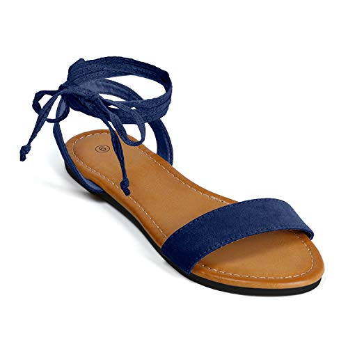 - Soles & Souls Lace Up Open Toe Ankle Strap Flat Sandals for Women Navy Blue 09