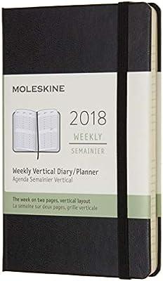 Calendario semanal Moleskine, 12 meses, vertical, 2018, tapa dura, color Negro bolsillo
