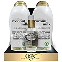 OGX Nourishing Coconut Milk Shampoo & Conditioner 25.4 oz Each + Bonus Nourishing Oil