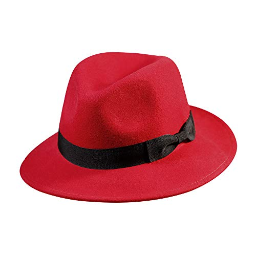 Wool Fedora Hat-Women's Felt Floppy Panama Hats Vintage Classic Ladies Wide Brim Cap's Gift Christmas Decoration (Red)