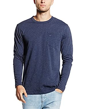G-Star Men's Yedur Pocket R T Longsleeved Marled T-Shirt, Blue