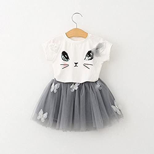 Tinksky Dos - pieza Cat blanco T camisa mariposa gris Tutu Falda ...