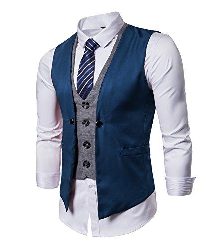 Winoto Business Suit Vest Mens Slim Fit Waistcoat with Blue Striped Necktie by Winoto