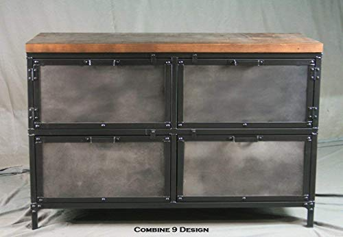 Vintage Industrial File Cabinet with Storage. Reclaimed Wood Top. Industrial File Drawers. Distressed Steel. Urban…