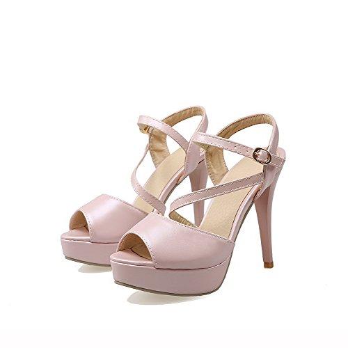 AllhqFashion Solid Sandals Buckle Women's Heeled Stilettos Peep Pink Toe Spikes rPxrn5q